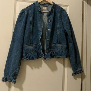 Denim ruffle jacket